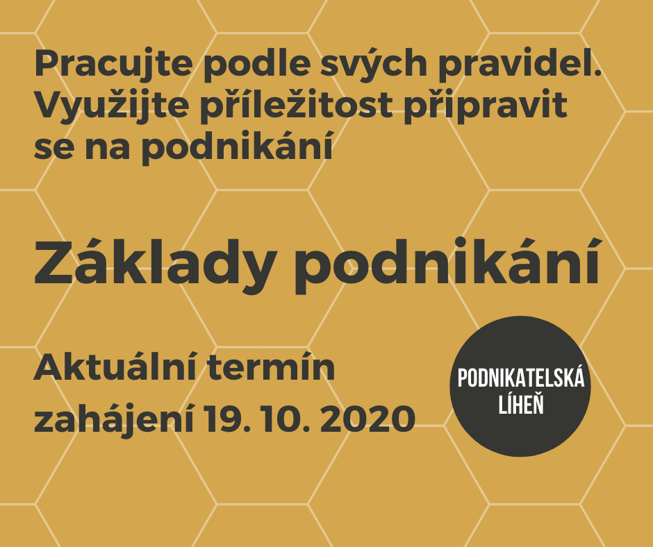 upoutávka na rekvalifikaní kurz Základy podnikání v Olomouci začínající 19.10.2020.